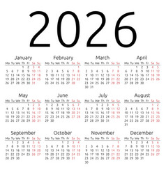 Simple calendar 2026 monday vector
