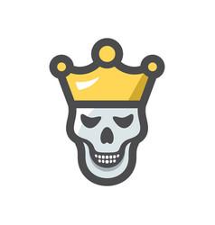 skull king crown icon cartoon vector image