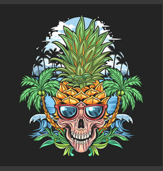 skull pineapple head with glasses and coconut tree vector image