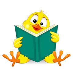 Small chick with a book vector