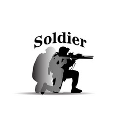 soldiers text soldier shoot gun white background v vector image