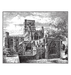 St albans abbey before the modern restoration vector