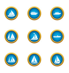 Steamboat icons set flat style vector