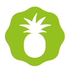 Sticker delicious pineapple fruit icon vector