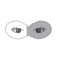 sticker silhouette pair female eyes icon vector image