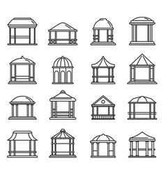summer gazebo icons set outline style vector image