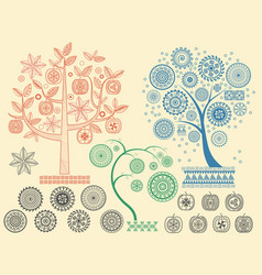 the tree patterns with the different elements vector image
