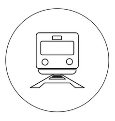 train icon black color in circle isolated vector image