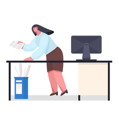 Unorganized office worker in panic woman vector