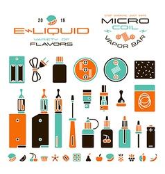 Vape labels e cigarette and fruit flavor icons vector