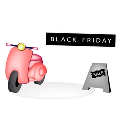 Vintage Scooter with A Black Friday Flag vector image