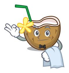 Waiter cocktail coconut mascot cartoon vector