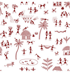 warli painting traditional indian tribal art vector image