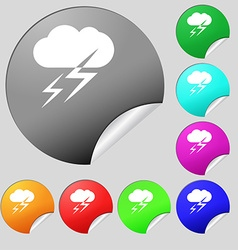 Weather icon sign set of eight multi colored round vector