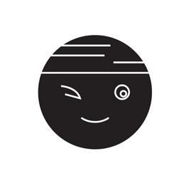 winking chinese emoji black concept icon vector image