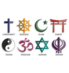 World religion symbol icon set vector