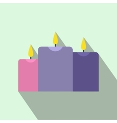 Burning candles flat icon vector image