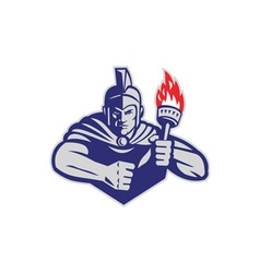 Greek Warrior Holding Flaming Torch Retro vector image