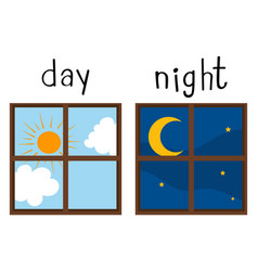 opposite wordcard for day and night vector image vector image