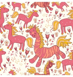 Seamless pattern with horses and flowers vector image