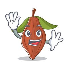 waving cacao bean character cartoon vector image