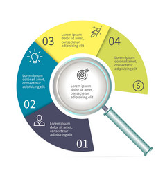 Circular diagram in form of a magnifier Chart vector image vector image