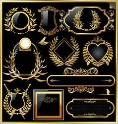 golden label with laurel wreaths vector image vector image