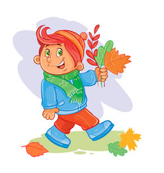 icon of small boy collects fallen leaves vector image
