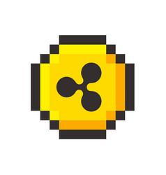 pixel art ripple golden coin retro video game vector image vector image