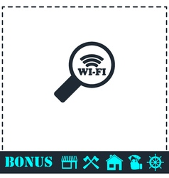 Search wi-fi connection icon flat vector