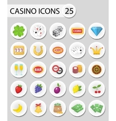 Casino icons stickers flat style Gambling set vector image vector image