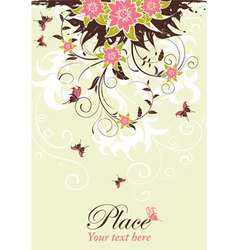 grunge decorative floral frame vector image vector image
