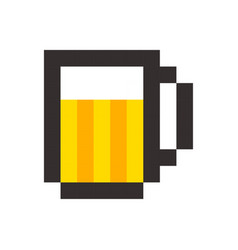 Pixel beer glass template vintage brewery sign vector