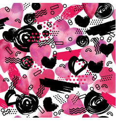 seamless pattern with watercolor heart in memphis vector image