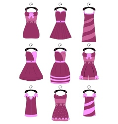 Set of female dresses vector image vector image