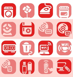 color electronic home devices icons vector image vector image