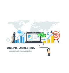 digital marketing process - banner in flat style vector image vector image