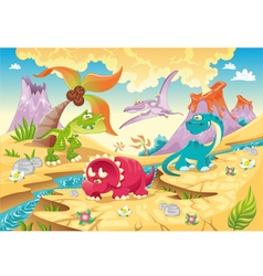 Dinosaurs Family with background vector image vector image