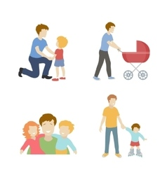 Fatherhood color flat icons set father playing vector image vector image