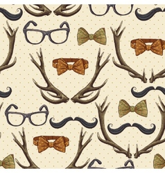 Seamless hipster vintage background with antlers vector image vector image