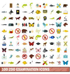 100 zoo examination icons set flat style vector