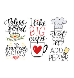 5 hand-lettering quotes about food my favorite vector
