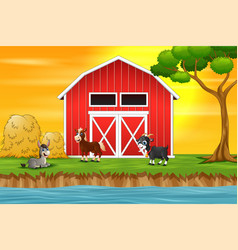 a group of goat on the farm background vector image