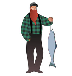 bearded fisherman catching a salmon from a vector image
