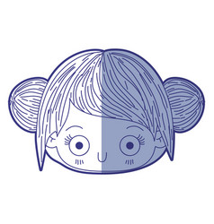 Blue shading silhouette of kawaii head cute little vector