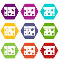 Box magician icon set color hexahedron vector