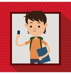 Boy with mobile phone student frame dot shadow vector