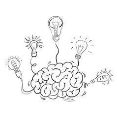 Brain and many idea light bulbs vector