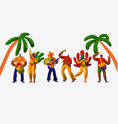 brazil carnival party character dance samba set vector image