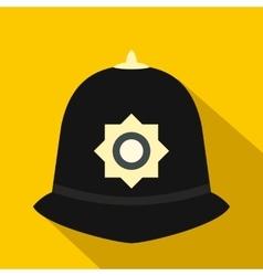 British police helmet icon flat style vector image